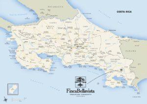 Location of Finca Bellavista in Costa Rica