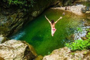 Woman diving at Finca Bellavista